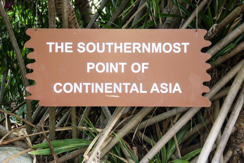 Le point le plus le plus au sud de l'Asie continentale photo stock