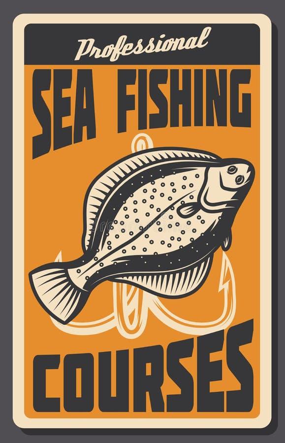 Le poisson d'eau de mer chasse la rétro bannière des poissons et du crochet illustration stock