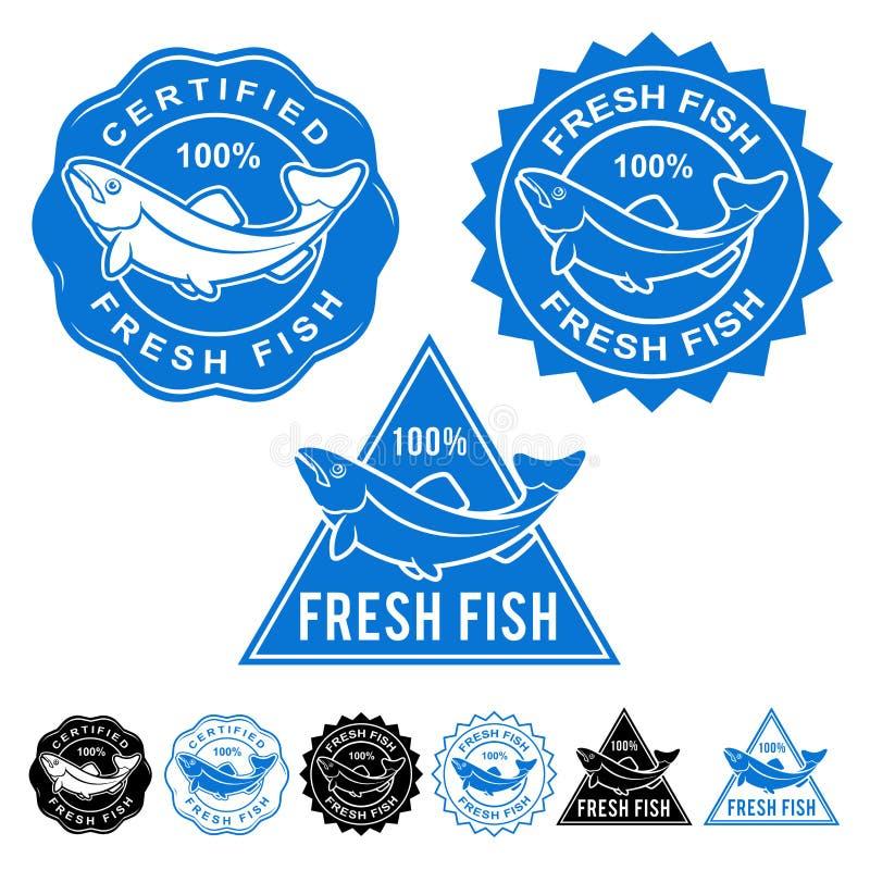 Le poisson frais a certifié l'ensemble d'icône de joints illustration de vecteur
