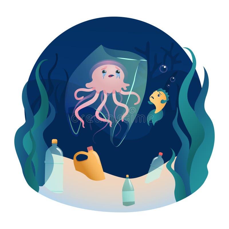 Le poisson nage parmi la pollution en plastique d'océan Concept des déchets zéro illustration de vecteur