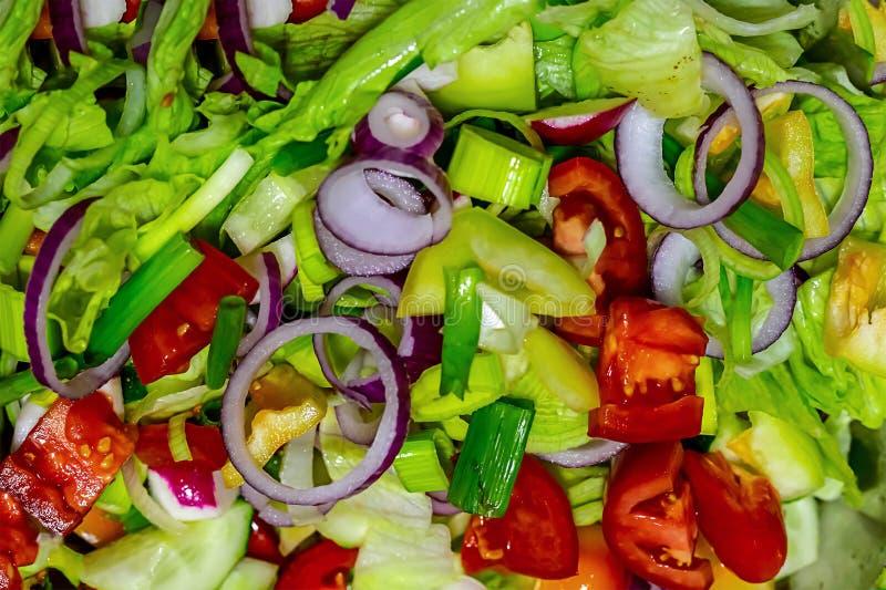 Le poivre rouge de concombre de tomate d'oignon délicieux frais de salade a assorti le produit utile de déjeuner chaud délicieux  photographie stock libre de droits