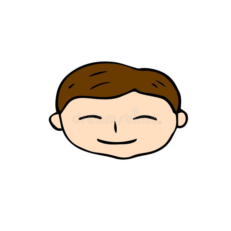 Le pojkeframsidasymbolen Handdrawn vektor för lycklig man på vit Rolig pojke som ler klistermärken för tecknad filmtecken royaltyfri illustrationer