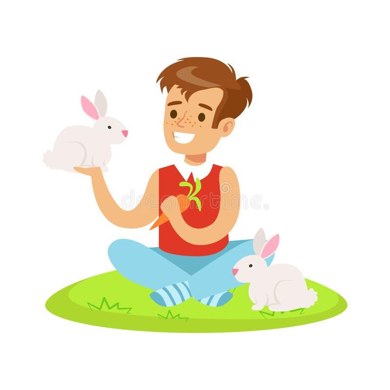 Le pojkesammanträde på grönt gräs, spela och mata två vita kaniner med moroten Färgrik vektor för tecknad filmtecken vektor illustrationer