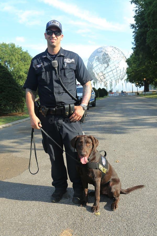 Le policier du bureau K-9 et K-9 de transit de NYPD poursuivent fournir la sécurité au centre national de tennis images libres de droits