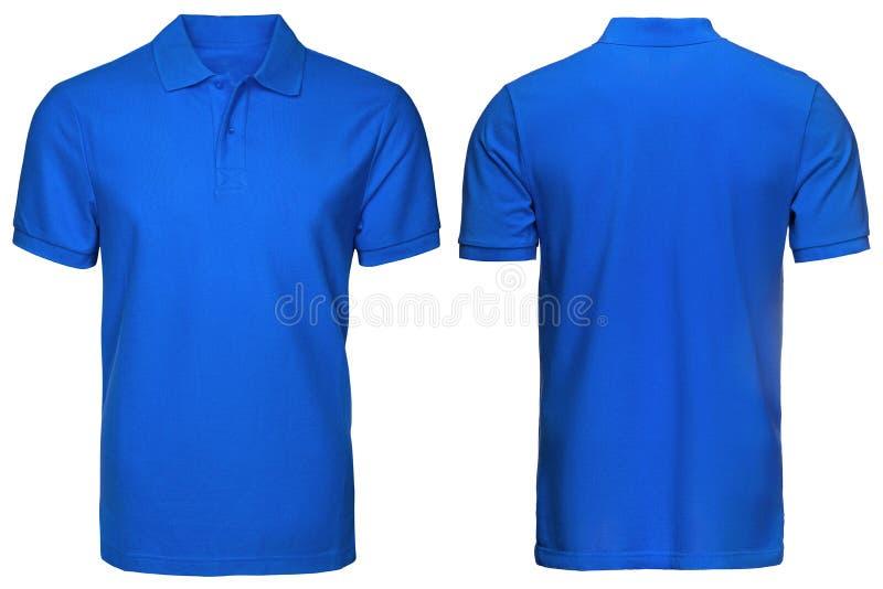 Le polo bleu vide, avant et vue arrière, a isolé le fond blanc Concevez le polo, le calibre et la maquette pour la copie photos stock