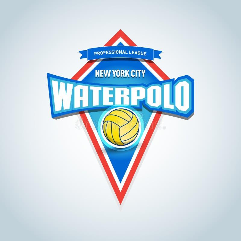 Le polo d'eau folâtre le logo, label, emblème Calibre de logo d'insigne de polo d'eau, graphiques de T-shirt de sport Illustratio illustration de vecteur