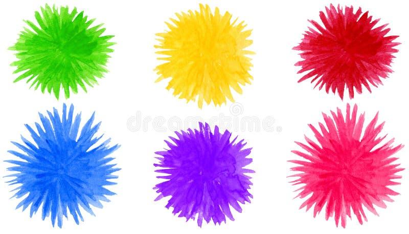 Le pompon abstrait d'aquarelle forme le fond ?l?ments color?s ronds de fleur d'isolement sur le blanc illustration stock