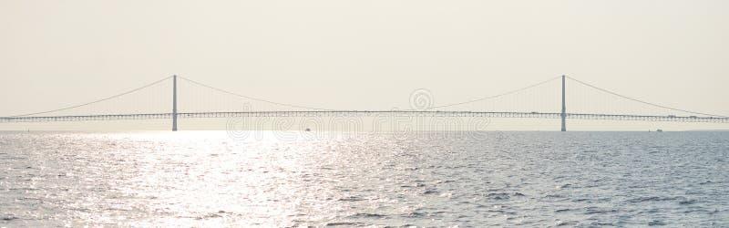 Le pont de Mackinac à la lumière du soleil photos libres de droits