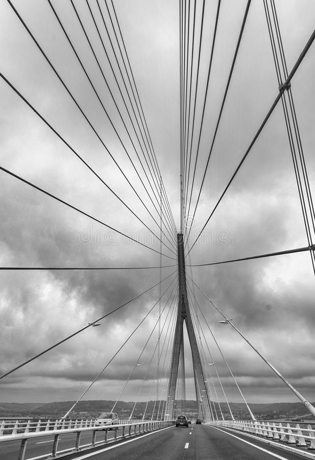 Le Pont de Normandie - мост Нормандии стоковые изображения