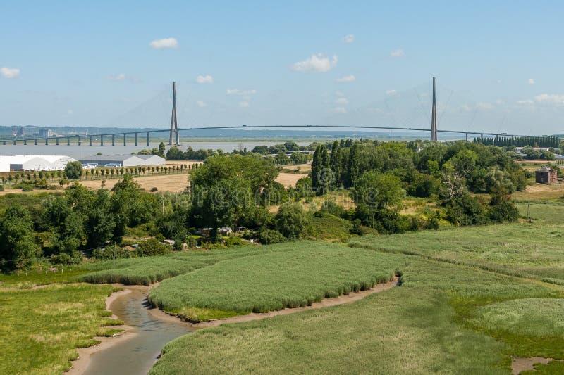 Le Pont de Normandie около Гавр Франции стоковое изображение rf