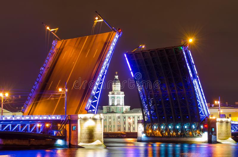 Le pont de palais et le musée de Kunstkamera la nuit sur Neva River In St Petersburg photo stock