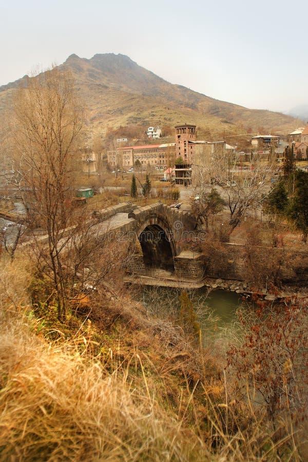 Le pont de Sanahin avec le chiffre du chat dans la région de Lori, Arménie photos libres de droits