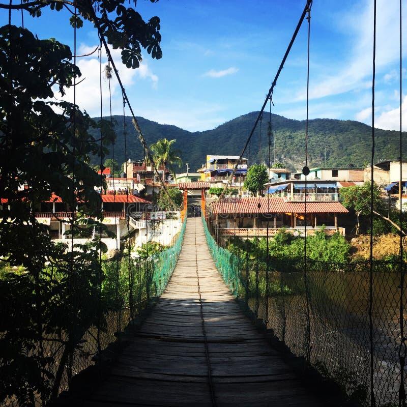 Le pont en bois de Jalcomulco photo stock