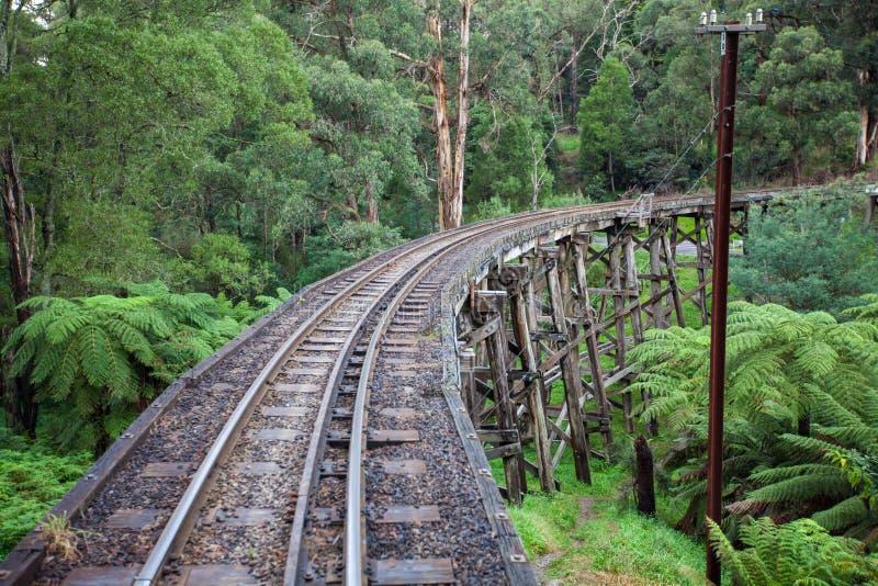 Le pont en chevalet de traction iconique de Billy Steam dans le Dandenong R images libres de droits