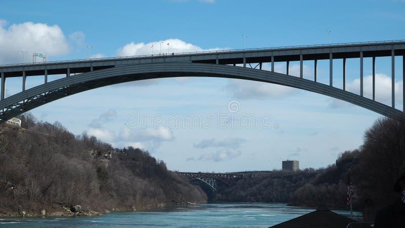Le pont international en arc-en-ciel de chutes du Niagara photos stock