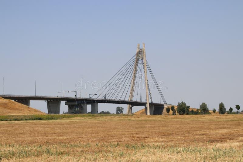 Le pont suspendu au-dessus de la rivière IJssel chez Kampen a appelé Eilandbrug aux Pays-Bas photo libre de droits