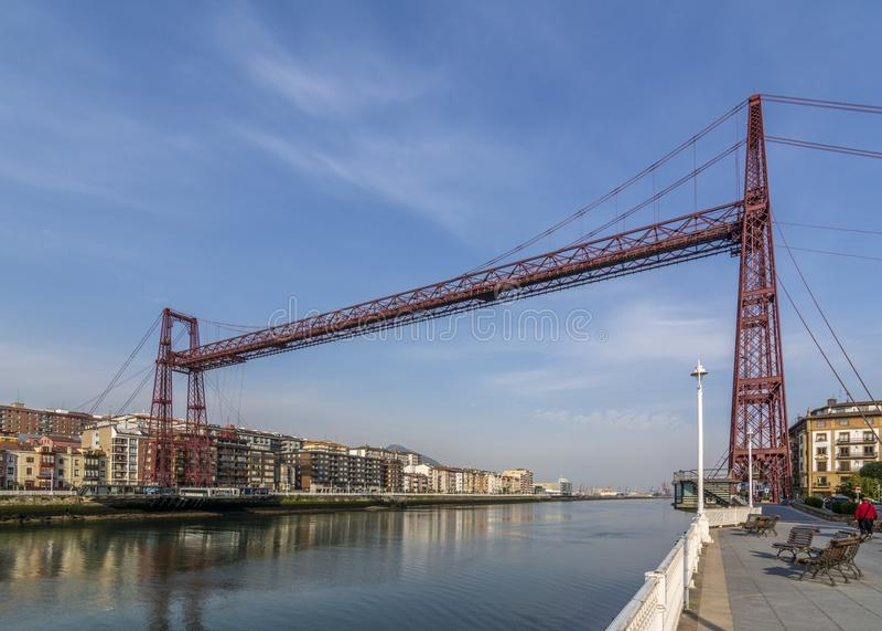 Le pont suspendu de Bizkaia à Portugalete, Espagne image stock