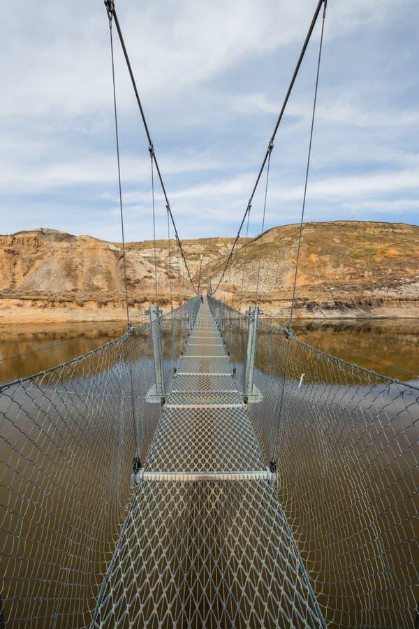 Le pont suspendu de mine de The Star est un pont suspendu piétonnier long de 117 mètres à travers la rivière de cerfs communs rou images libres de droits