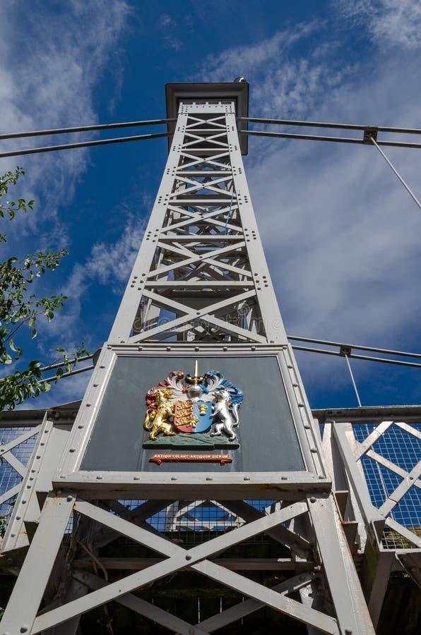 Le pont suspendu de parc de la Reine à Chester photos libres de droits