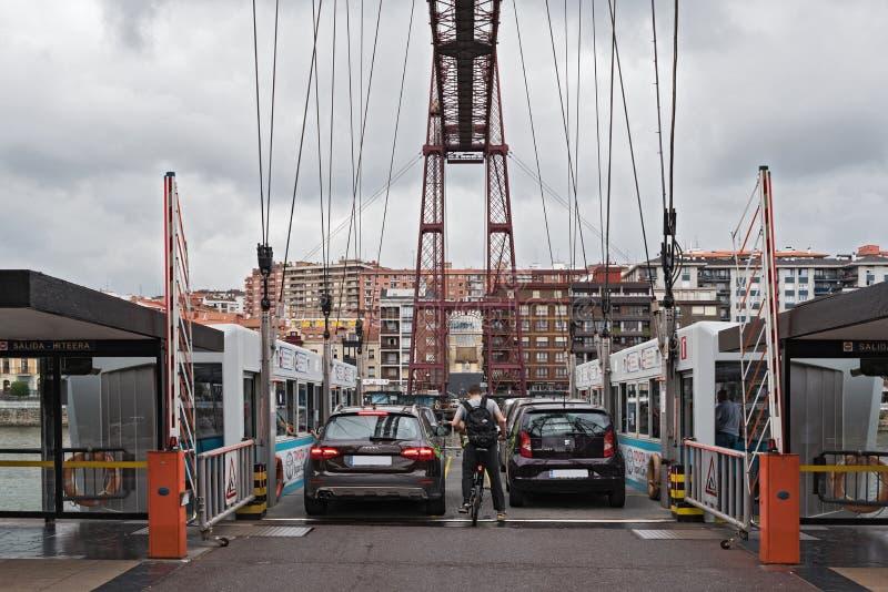 Le pont suspendu du puente De vizcaya de bizkaia entre obtiennent image libre de droits