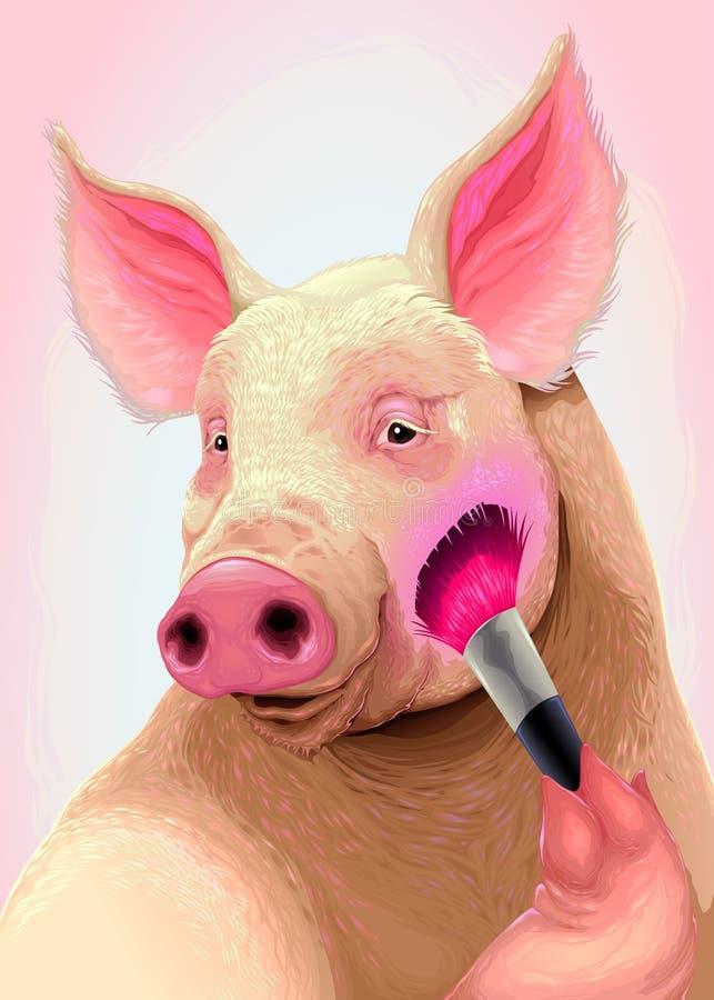 Le porc applique le rougissement sur sa joue illustration stock