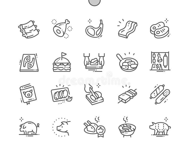 Le porc Bien-a ouvré la ligne mince de vecteur parfait de pixel la grille 2x des icônes 30 pour des graphiques et Apps de Web illustration de vecteur