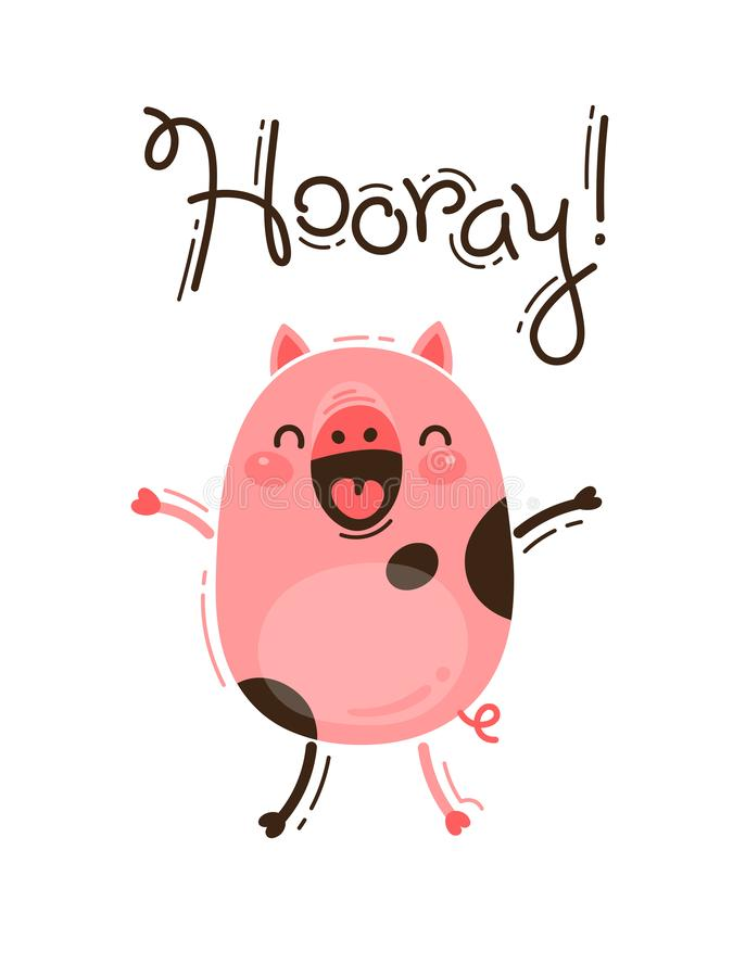 Le porc drôle hurle hourra Porcelet rose heureux Illustration de vecteur dans le style de bande dessinée illustration de vecteur