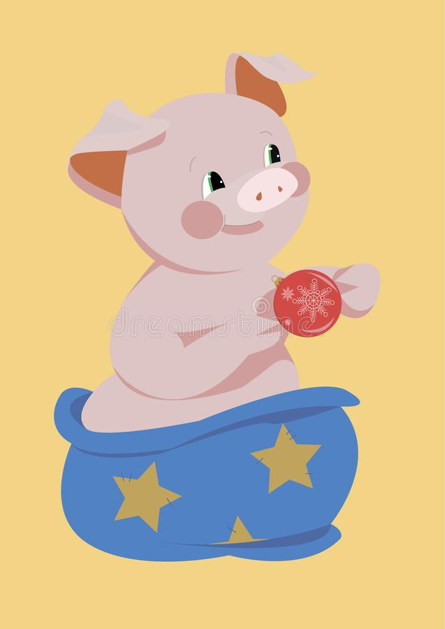 Le porc est le symbole de 2019 illustration de vecteur