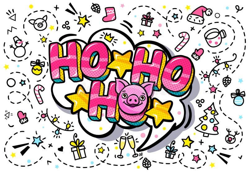 Le porc est un symbole de 2019 nouvelles années Visage de strabisme heureux de porc sur le fond rose avec Ho-ho-ho le message dan illustration libre de droits