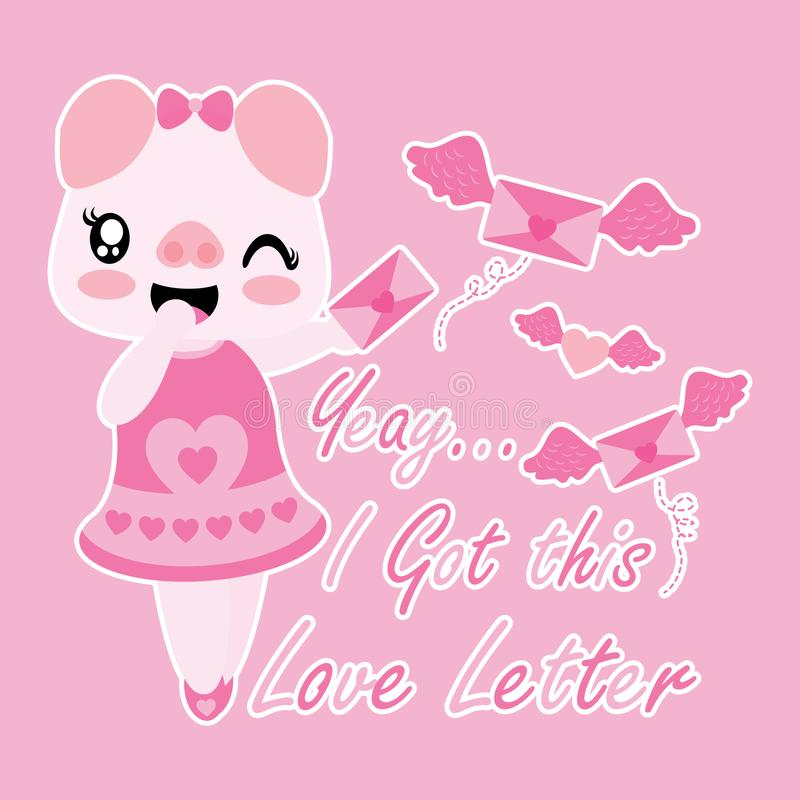 Le porc mignon reçoit la lettre d'amour avec l'illustration de bande dessinée d'ailes illustration de vecteur