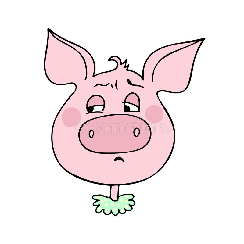 Le porc mignon a une expression d'embarras illustration libre de droits