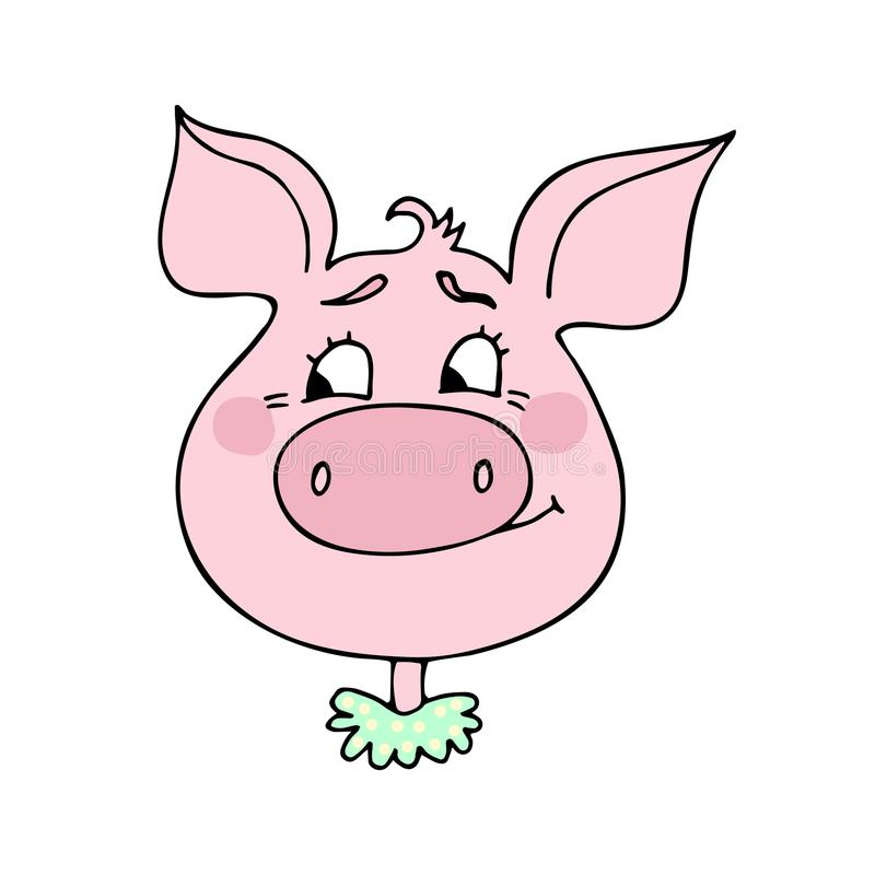Le porc mignon a une expression d'embarras illustration de vecteur