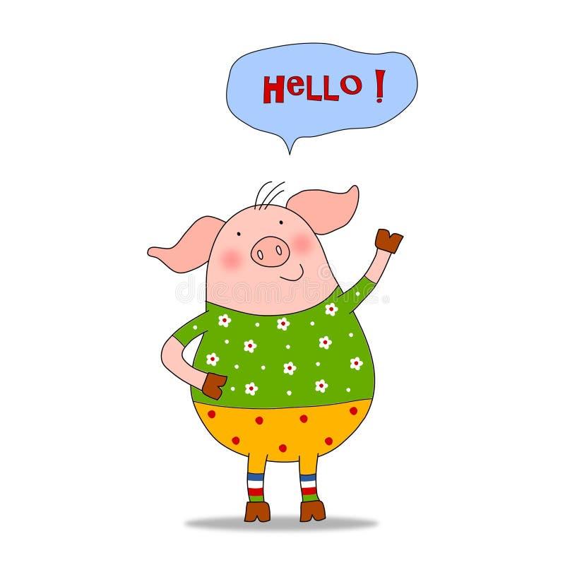 Le porc - personnages de dessin animé illustration stock