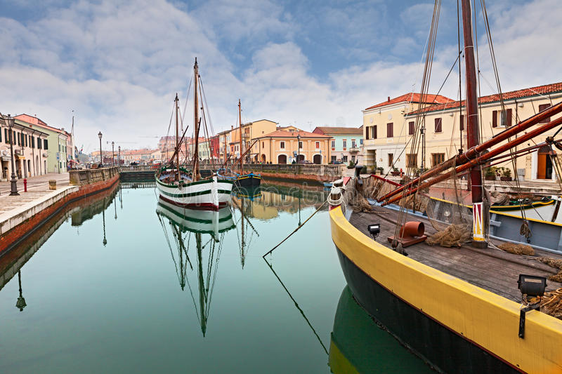 Le port de Cesenatico images libres de droits