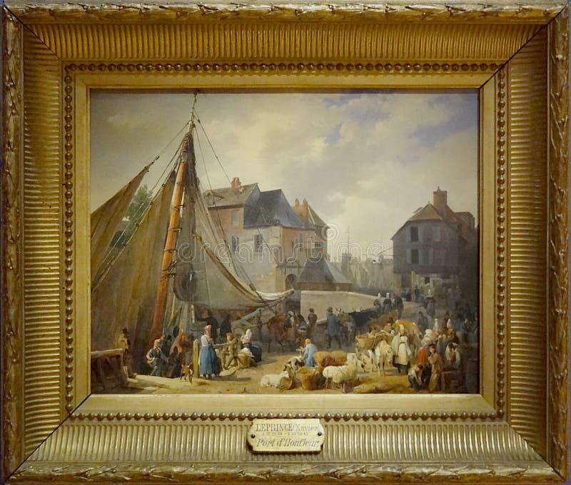 ' Le port de Honfleur, l' embarquement DES bestiaux' , Auguste-Xavier Leprince, 1823 lizenzfreie stockbilder