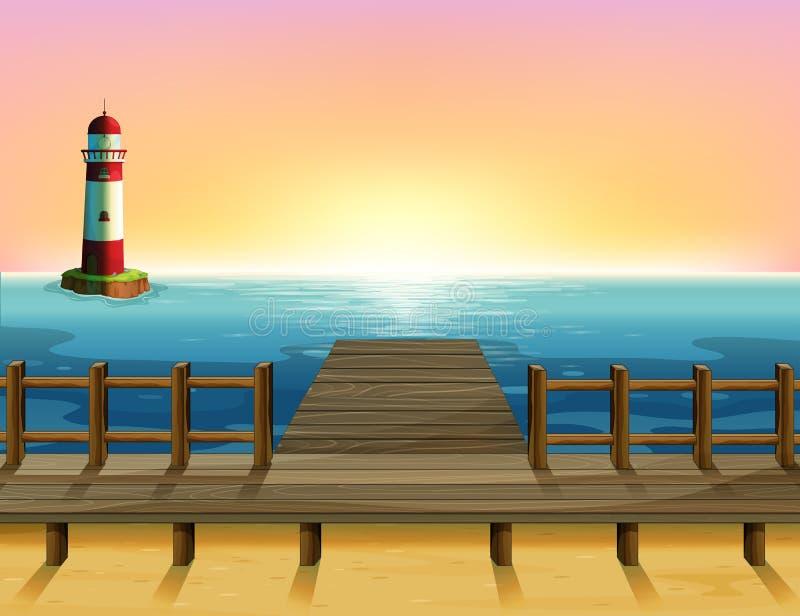 Le port en bois et le parola de mer illustration stock