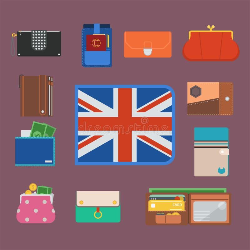 Le portefeuille de bourse avec le sac financier de paiement d'affaires d'achat d'achats d'argent et la richesse à la mode accesso illustration de vecteur