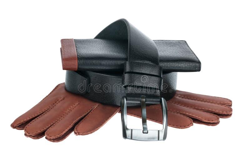 Le portefeuille, la ceinture et les gants des hommes photographie stock