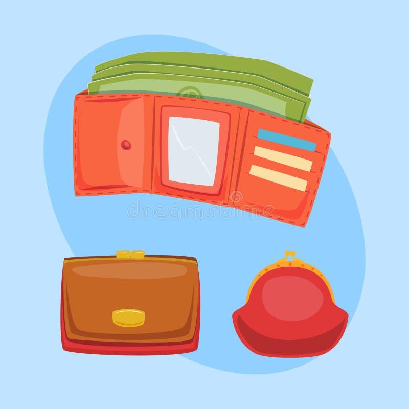 Le portefeuille rouge de bourse avec l'ico de vecteur d'argent pour le sac financier de achat de paiement d'affaires d'achat et l illustration libre de droits