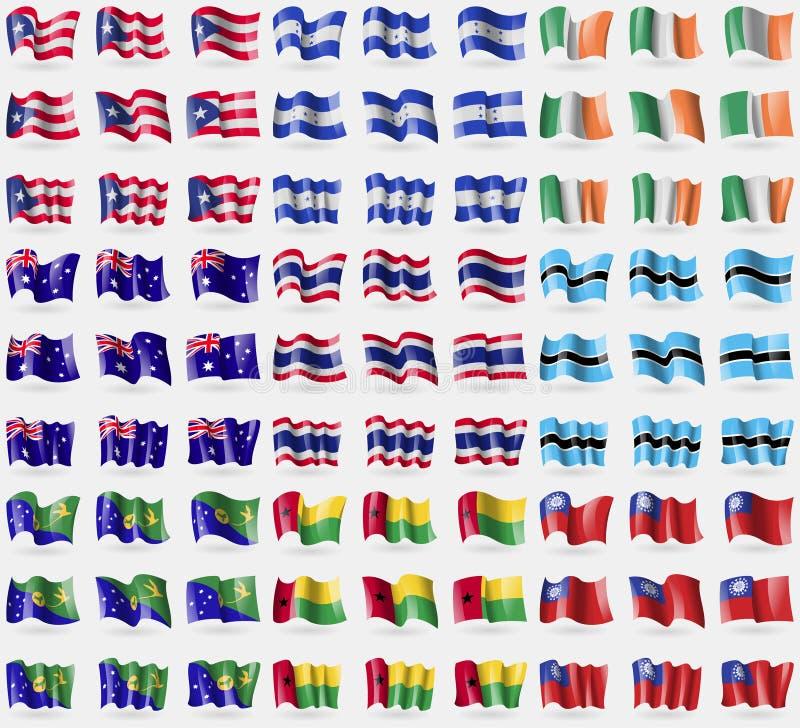 Le Porto Rico, Honduras, Irlande, Australie, Thaïlande, Botswana, Île Christmas, Guinée-Bissau, MyanmarBurma Grand ensemble de 81 illustration stock