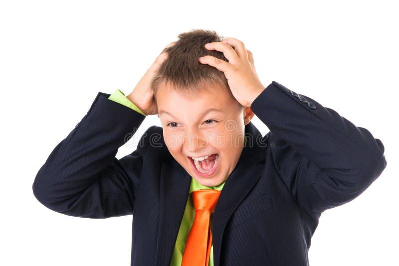 Le portrait émotif de la panique a déconcerté l'écolier intelligent avec des mains sur la tête, fond blanc images libres de droits