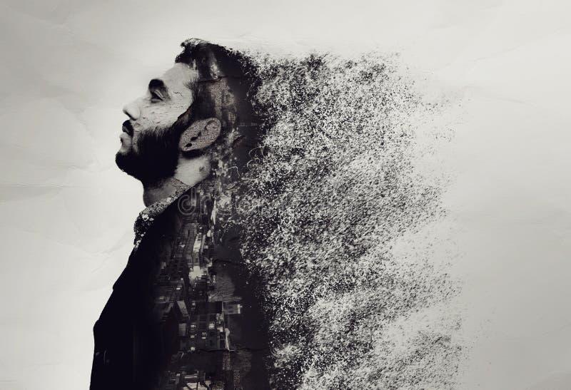 Le portrait abstrait créatif d'un type s'est brisé dans des morceaux image libre de droits