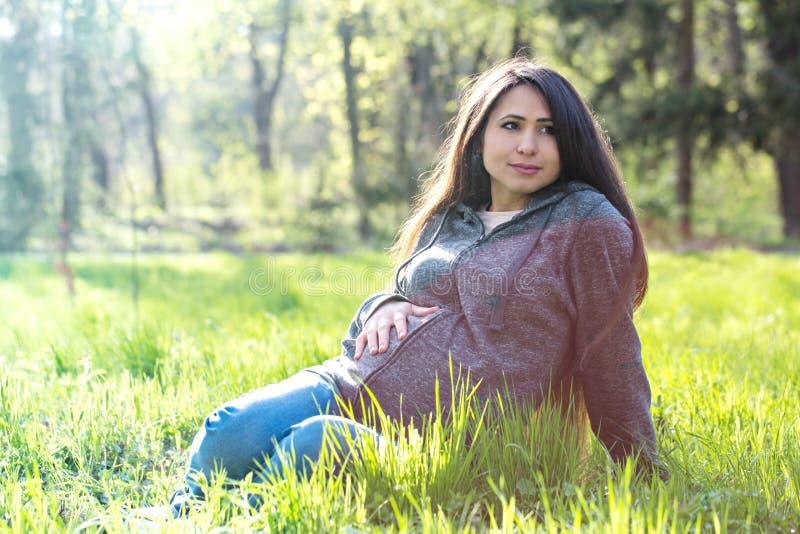 Le portrait d'une femme enceinte se repose sur un pré images stock