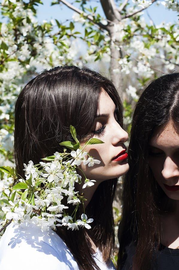 Le portrait de belles jeunes filles, soeurs s'est habillé dans l'ernoe et photo libre de droits