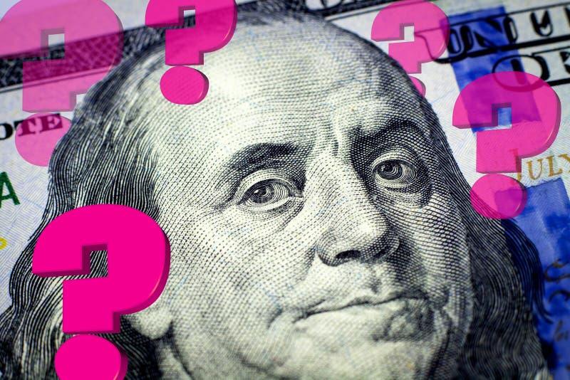 Le portrait de Benjamin Franklin et les points d'interrogation illustration stock