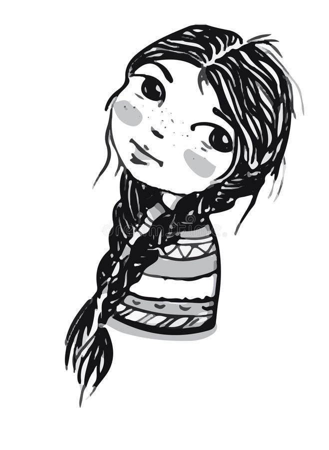 Le portrait de dessin d'une belle jeune fille avec deux a tressé des tresses illustration stock