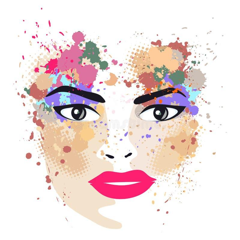 Le portrait de femme dans le profil avec des taches illustration libre de droits