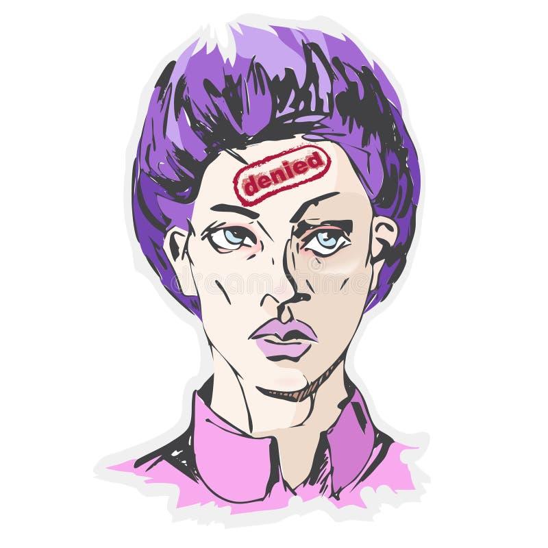 """Le portrait de femme de vecteur avec un timbre sur le front """"a nié """" illustration libre de droits"""
