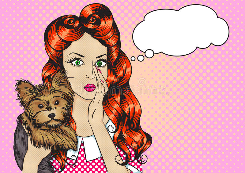 Le portrait de la fille avec le chien et le discours bouillonnent image stock