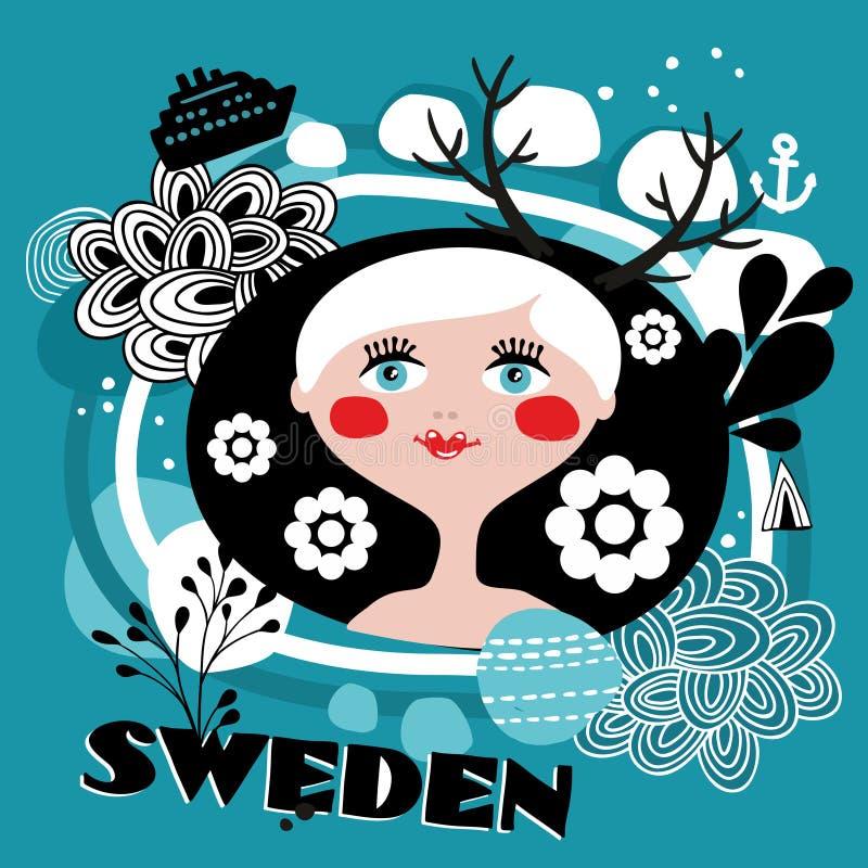 Le portrait de la fille suédoise illustration libre de droits